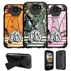For LG K3 LS450 Dual Layer Kickstand Case Customized With Your Initials - Camo