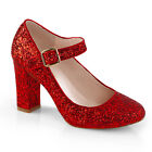 "4"" Red Glitter Mary Janes Dorothy Ruby Slippers Costume Shoes Heels size 6 7 8 9"