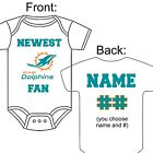 PERSONALIZED MIAMI DOLPHINS FOOTBALL FAN BABY GERBER ONESIE OPTIONAL SOCKS GIFT