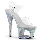 "7"" Silver Glitter Platform Cut Outs Stripper Heels Pole Dance Shoes size 8 9 10"