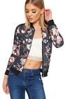 Womens Floral Print Bomber Jacket Ladies Long Sleeve Zip Stretch Fitted Top
