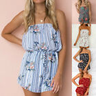 Women Floral Off Shoulder Jumpsuit Playsuit Shorts Romper Holiday Sleeveless HX