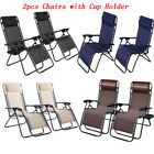 2X Zero Gravity Chair Lounge Patio Folding Recliner Outdoor W/Cup Holder 3 Color