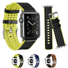 Breathable Genuine Leather Silicone iWatch Wristband For Apple Watch 1 2 3 38/42