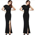 Womens Ruffle Ruched Sexy High Slit Formal Evening Party Gala Maxi Gowns Dress