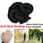 6 Size Black Garden Anti Bird Netting Fruit Poultry Aviary Pond Net 20mm Mesh