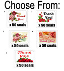 """50 Roses Thank You Envelope Seals / Labels / Stickers, 1"""" x 1.5"""""""