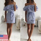 US Women Sexy Off Shoulder Mini Wrap Dress Strapless Pencil Dress Beach Sundress
