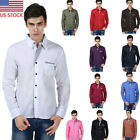 US Mens Formal Business & Casual Shirts Tops Workwear Dress Button-down Shirts
