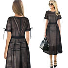 Womens Sexy Eyelet Mesh Patchwork Cocktail Party Fit and Flare A-Line Midi Dress