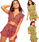 Womens Leopard Crop Top Hot Pants Co-Ord Set Ladies Tied Front Frill Shorts 6-12