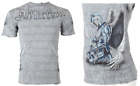 AFFLICTION Men T-Shirt KNIGHTHOOD Wings GREY Tattoo Motorcycle Biker $66 NWT image