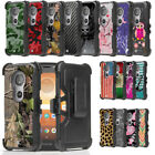 Dual Layered Cover w/Stand+Holster Clip Case for Motorola Moto E5 Cruise E5 Play