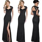 Womens Sexy Floral Full Lace Keyhole Back High Slit Formal Evening Maxi Dress