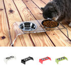 Double Stainless Steel Dog Cat Pet Puppy Bowl Dish Feeder with Elevated Stand