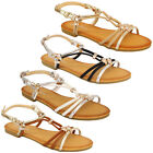Ladies Flat Sandals Womens Slip On Open Toe Buckle Diamante Shoes Fashion Party