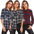 Women Long Sleeve Plaid Casual Shirts DZ88