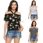 Women Casual Halter Short Sleeve Off the Shoulder Prints Sexy T-shirt DZ88