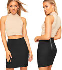 Womens Zip Back Stretch Rib Elasticated Bandage Mini Skirt Ladies Short Bodycon