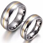 8mm /6mm Gold Tone Center Silver Tungsten Carbide Ring Couples Dome Wedding Band image