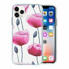 Silicone Phone Case Back Cover Poppies Pink Pattern - S1267
