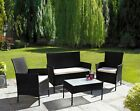 4 Piece Rattan Outdoor Furniture Sofa Set Garden Conservatory in Black or Grey