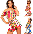 Womens Elasticated Stripe Crop Off Shoulder Top Hot Pant Coord Set Ladies Shorts