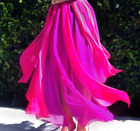 Ameynra Belly Dance Chiffon Petal Skirt Fuchsia Dark Pink 2 slits All Sizes New