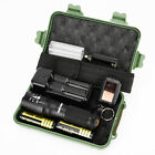 100000LM T6 LED Flashlight Rechargeable Zoom Torch+18650 Battery+ Charger+Plug