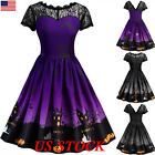 Women Short Sleeve Halloween Retro Lace Vintage Dress A Line Pumpkin Swing Dress