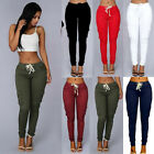 Women Cargo Pants High Waist Jogger Skinny Trousers Side Poc