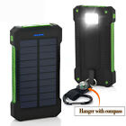 Waterproof 50000mAh 2USB LED Solar Power Bank Battery Charger For iPhone Samsung