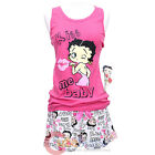 Betty Boop Pajama 2pc Set Kiss Me Baby Tank Top Short Pants Pink White -4 Size $28.02 AUD on eBay