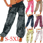 Plus size Ladies Loose Floral Yoga Palazzo Trousers Womens W