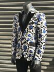 Men's White | Blue Roses Fashion Blazer