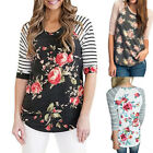 2018 Womens Boho Floral T-shirt  Crew Neck Long Sleeve Casual Tops Blouse GIFT
