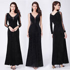 Ever-Pretty Sexy Black Glitter V-neck Long Sleeves Form Prom Party Dress 07394