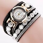Women Crystal Diamond PU Leather Quartz Watch Fashion Girl Wrist Bracelets Gifts