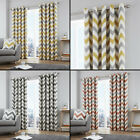 Chevron Striped Fully Lined Eyelet Ring Top Curtains - Grey, Orange, Yellow