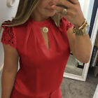 Sexy Womens Ladies High Choker V Neck Back Zip Lace Casual T-Shirt Tops Blouse