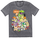 NICKELODEON CARTOON CHARACTERS T-SHIRT DISTRESSED GREY TV SHOW TEE MENS