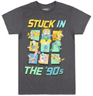 NICKELODEON STUCK IN THE 90S T-SHIRT HEATHER CHARCOAL CARTOON TV CHARACTERS TEE