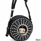 Betty Boop Rhinestone and Studded Cylinder Messenger Bag $36.54 USD on eBay