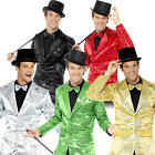Sequin Jacket Mens Fancy Dress Jazz Celebrity Showtime Silver Adults Costume New