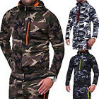 Men's Winter Camo Hoodie Zip up Hooded Sweatshirt Coat Jacket Sport Outwear Tops