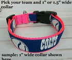 Girl Hot Pink NFL NHL MLB U Pick fabric Dog collar made by Terri's Dog Collars $10.99 USD on eBay