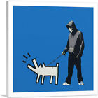 ARTCANVAS Choose Your Weapon Keith Haring Dog - Blue Canvas Art Print by Banksy