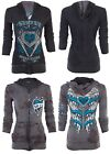 SINFUL by AFFLICTION Women REVERSIBLE Hoodie ZIP UP Jacket LOVE BANDIT Wings $74