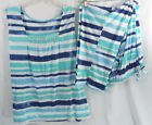 Dreams + Co. Whisperweight Gauze PJ Set Sleeveless Shirt With Pants Blue Stripe