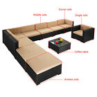 Outdoor Patio Rattan Wicker Rattan Furniture Set Sofa Cushioned Garden Brown A6v